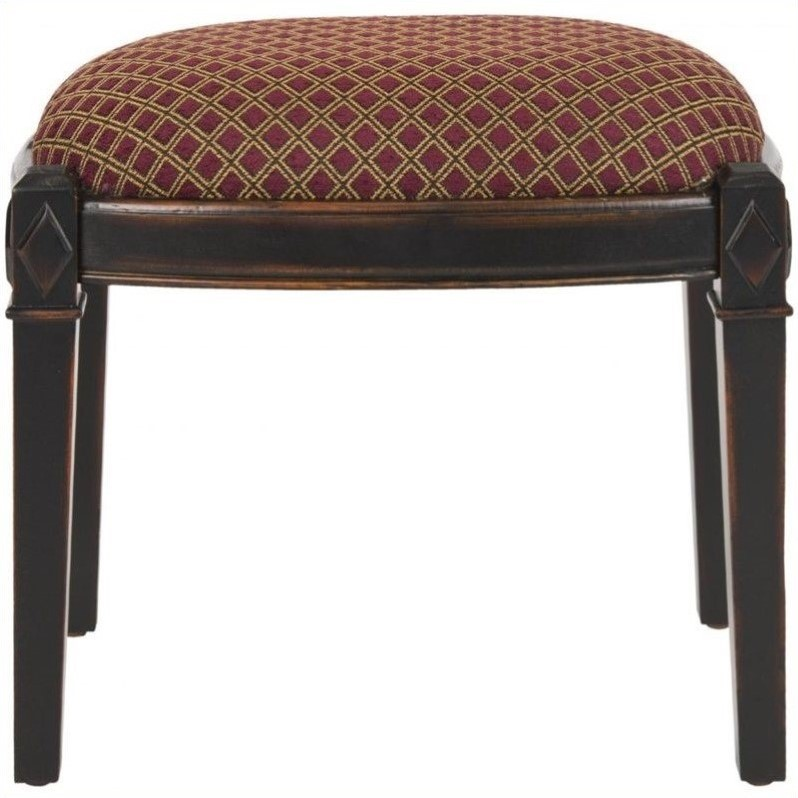 Safavieh Lindy Birch and Cotton Stool Ottoman in Red