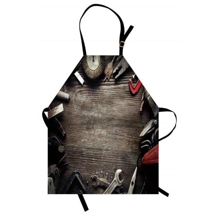 Forum Manual Board (Industrial Apron Grungy Tools on a Wooden Board Manual Manufacturing Repairing in Workshop, Unisex Kitchen Bib Apron with Adjustable Neck for Cooking Baking Gardening, Brown Grey Red, by Ambesonne)