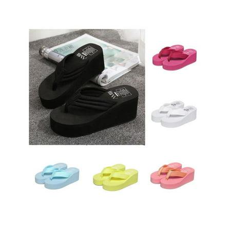 Hot Women Stripes Platform High Heel Wedge Thong Flip Flops Sandals (T-bar Platform Shoes)