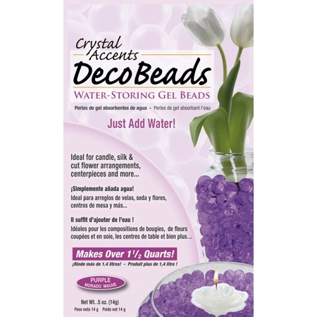 Glass Beads For Vases (Deco Beads (Purple) 1/2 Ounce Pack Makes 6 Cups of Decorative Beads Gel Vase)