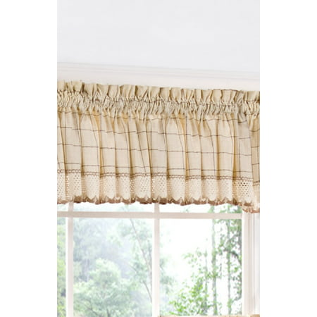 Traditional Elegance 100% Cotton Checkered Tailored Kitchen Curtain Valance with Crochet Hem (60