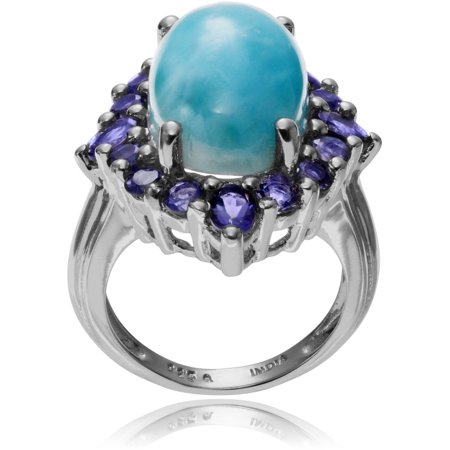 Brinley Co. Women's Larimar Lolite Accent Sterling Silver Oval Fashion Ring