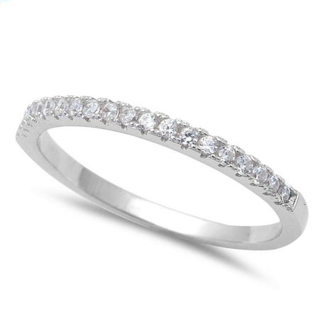 - Sterling Silver Clear CZ Halfway Eternity Band Ring Size 11