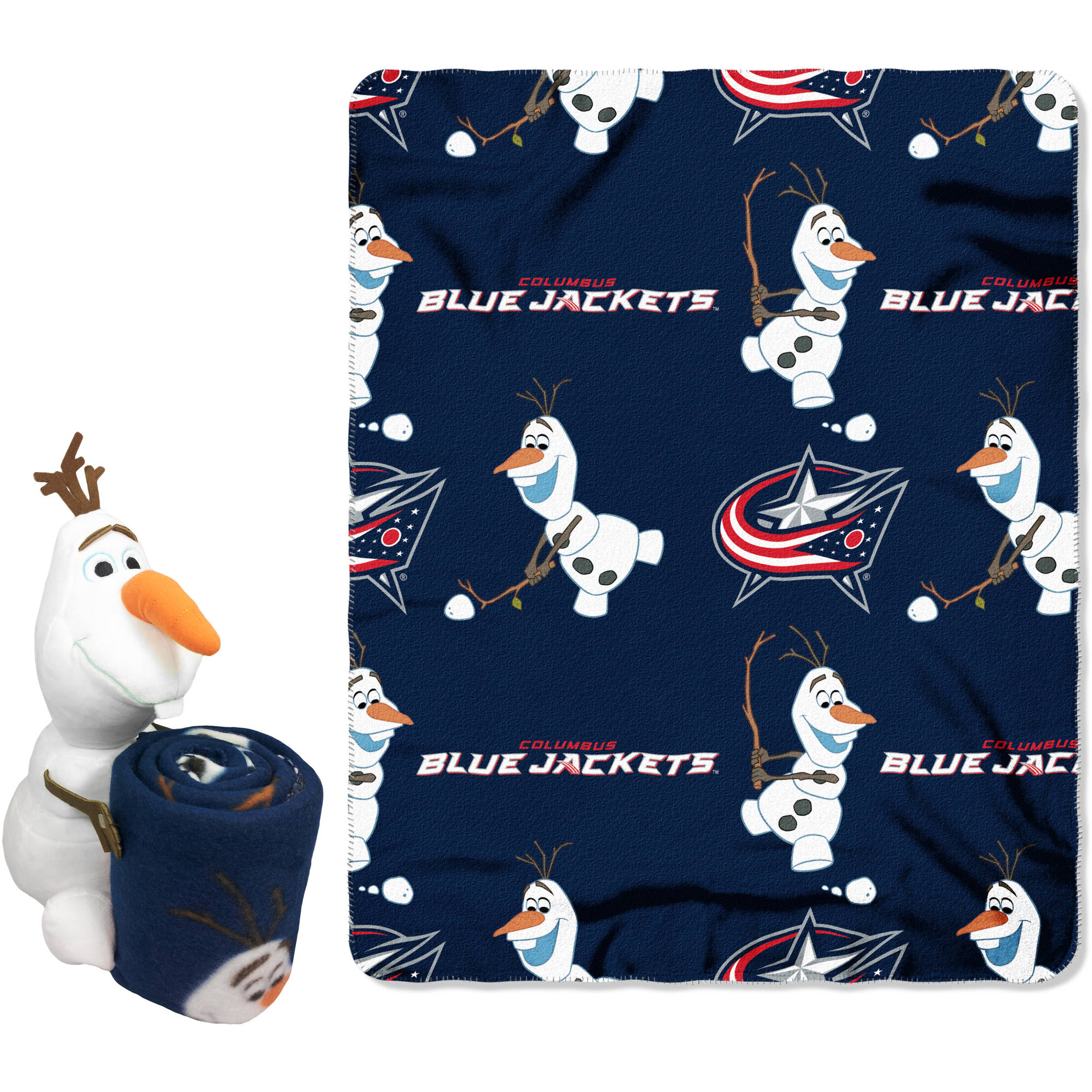 """Official NHL and Disney Cobrand Columbus Blue Jackets Olaf Hugger Character Shaped Pillow and 40""""x 50"""" Fleece Throw Set"""