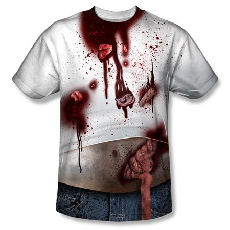 Halloween Cool Spooky Costume Bloody Zombified Hick Adult Front Print T-Shirt