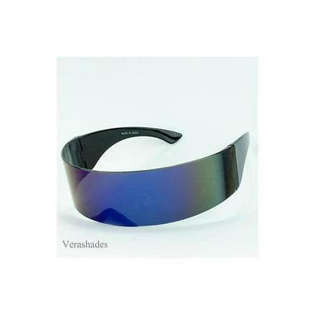 Alien Space Robot Party Cyclops Futuristic Shield Sunglasses Retro Eyewear Mirro](Alien Sunglasses)