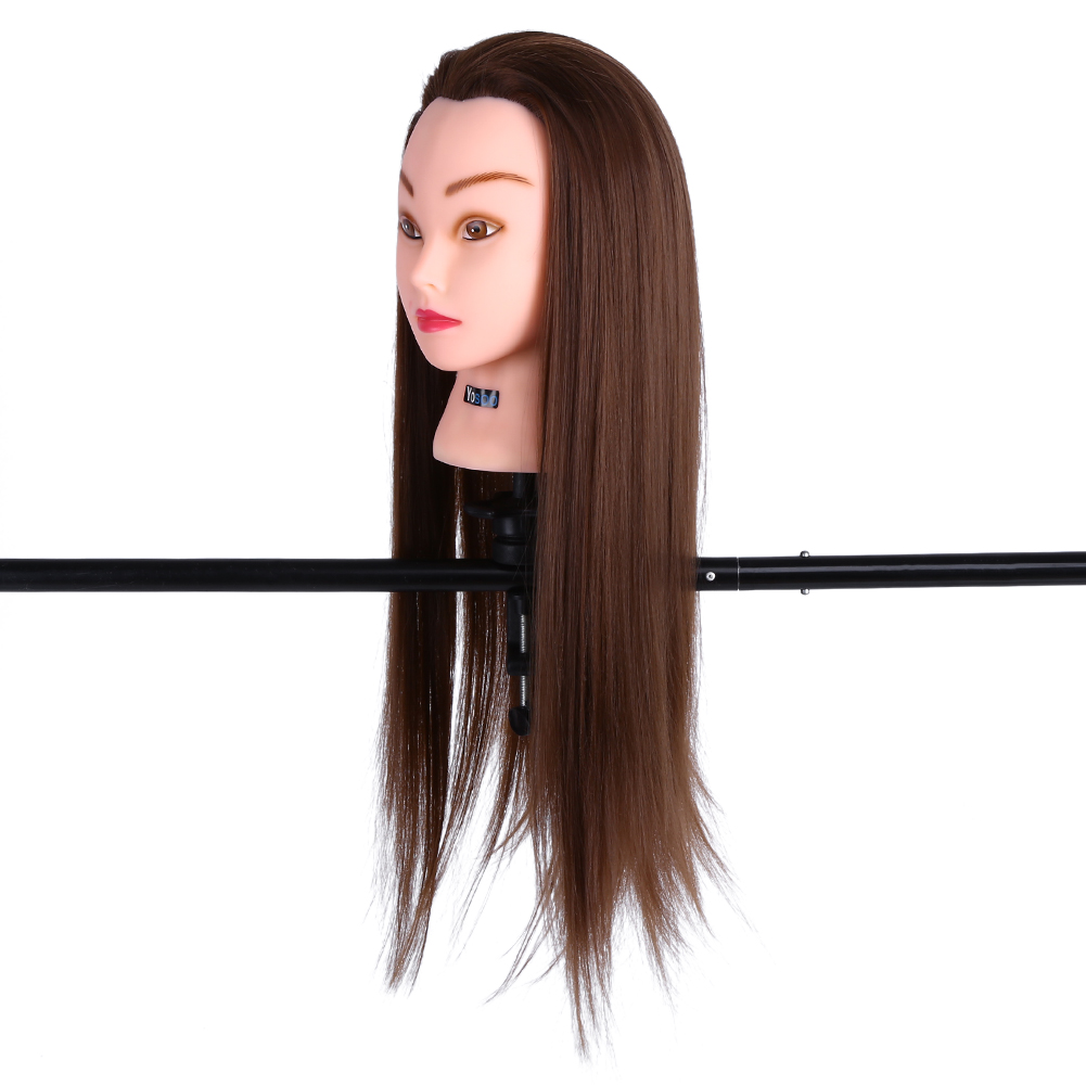 "Yosoo 24"" Human Hair Mannequin Head Hair Styling Training Head Manikin Cosmetology Doll Head for Hairdressing and Training Practice with Clamp Holder"