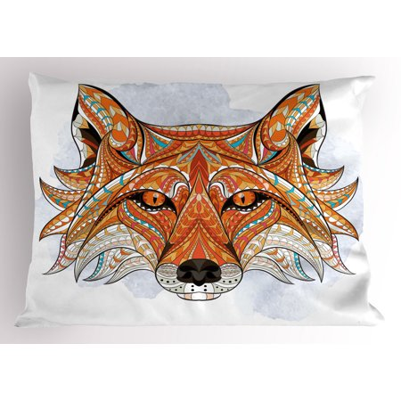 Tribal Pillow Sham Primitive Red Fox Face with African Ornaments Totem Animal Fauna Design Print, Decorative Standard King Size Printed Pillowcase, 36 X 20 Inches, Orange Amber, by Ambesonne - Tribal Totem
