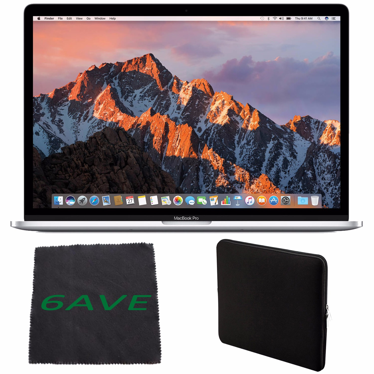 Apple MacBook Pro MLW82LL/A 15.4-inch Laptop with Touch Bar (2.7GHz quad-core Intel Core i7, 512GB Retina Display), Silver + Padded Case For Macbook + MicroFiber Cloth Bundle