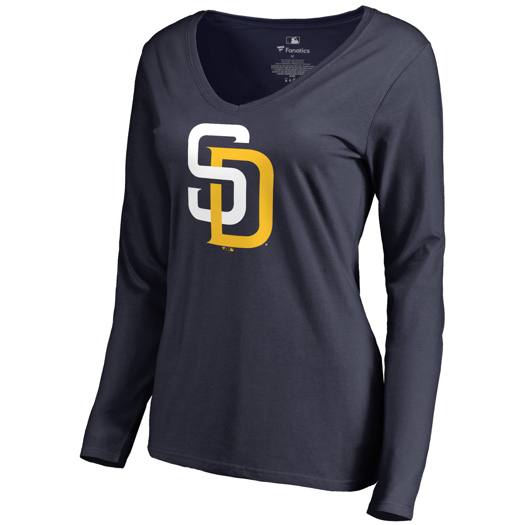 San Diego Padres Women's Team Color Primary Logo V-Neck Long Sleeve T-Shirt - Navy