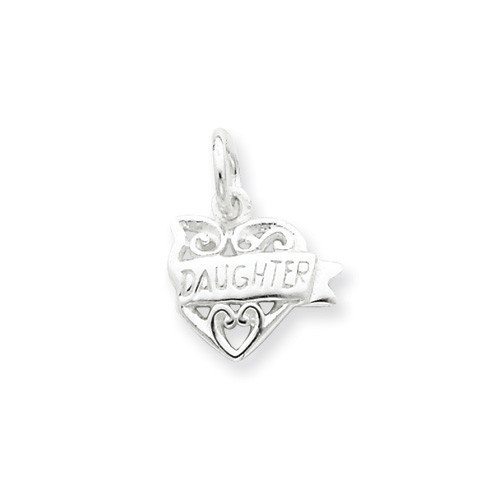 Jewelryweb Sterling Silver Heart Daughter Charm
