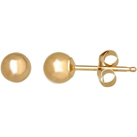 Brilliance Fine Jewelry 14kt Yellow Gold 4mm Ball Stud Earrings Satin Ball Earrings
