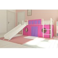 DHP Junior White Loft Bed with White Slide and Pink Curtain Set, Kid's Bundle, Twin