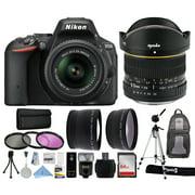 "Nikon D5500 DSLR Digital Camera with AF-S 18-55mm VR II Lens (1546) + 6.5mm f/3.5 Fisheye Lens + Backpack + 64GB Card + i-TTL Flash + 2.2x Telephoto + 0.43x Wide Angle + Filters + 70"" Tripod"