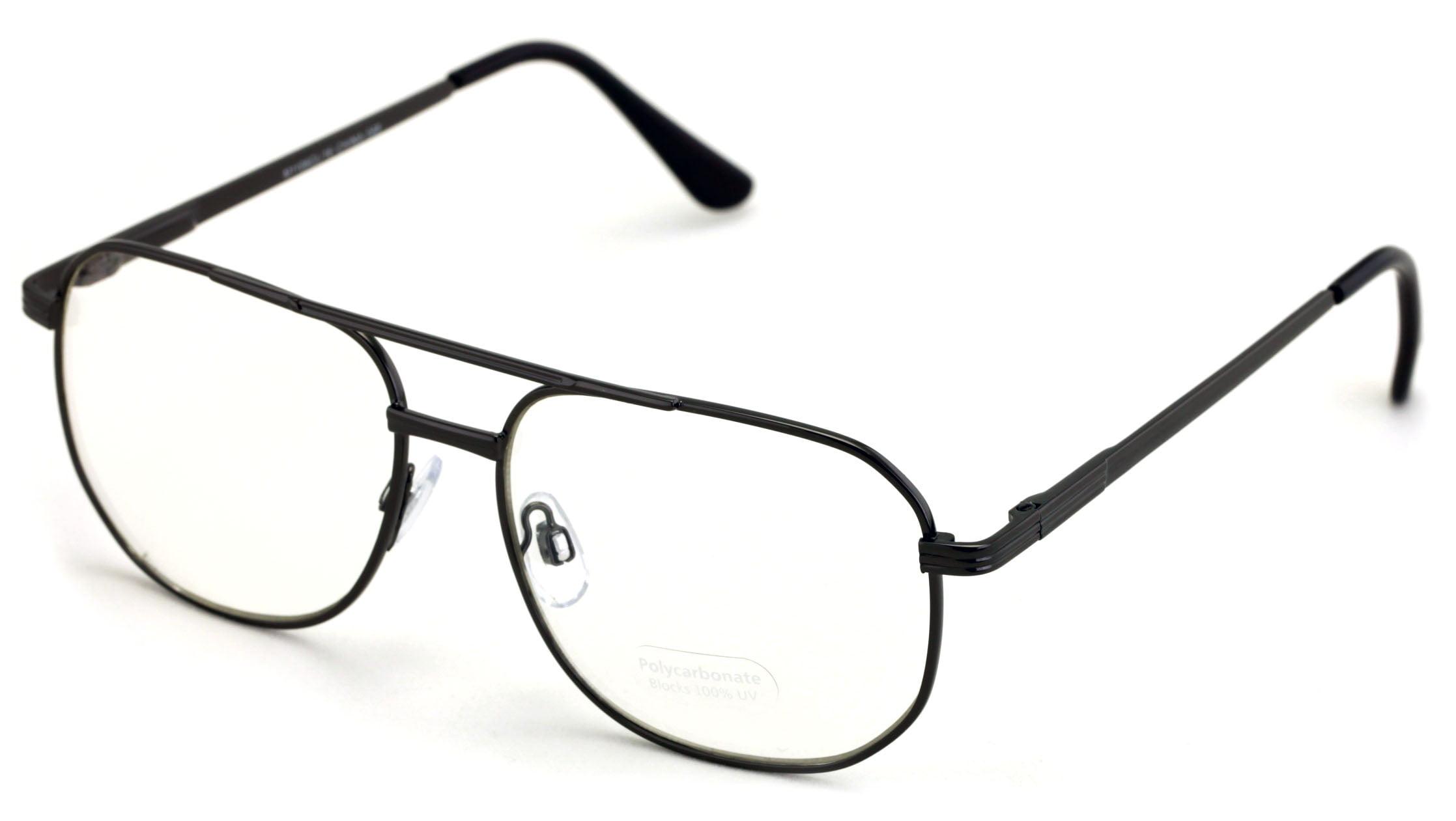 V.W.E. - Metal Aviator Glasses - Big Lens Spring Hinge Square - Gold  Gunmetal Old Men Grandpa Nerd Clear Lens - Walmart.com - Walmart.com
