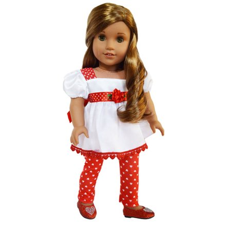 My Brittany's Valentines Day Rose Satin Top-Heart Leggings for American Girl Dolls,My Life as Dolls,Our Generation Dolls- Doll is not included-Top-Leggings Only-18 Inch Doll Clothes (My Generation Doll)