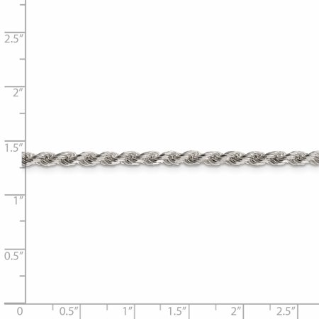 Sterling Silver 3mm Diamond-cut Rope Chain (Weight: 22.33 Grams, Length: 26 Inches) - image 1 of 4