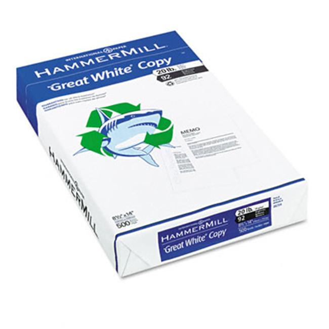 Hammermill 86704 Great White Recycled Copy Paper  92 Brightness  20lb  Legal  500 Sheets
