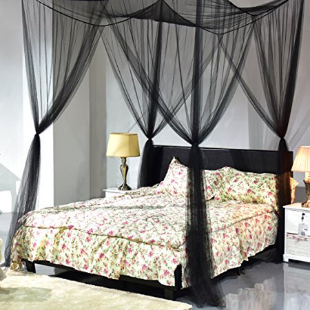 Super buy 4 Corner Post Bed Canopy Mosquito Net Full Queen King Size Netting Black Bedding ()