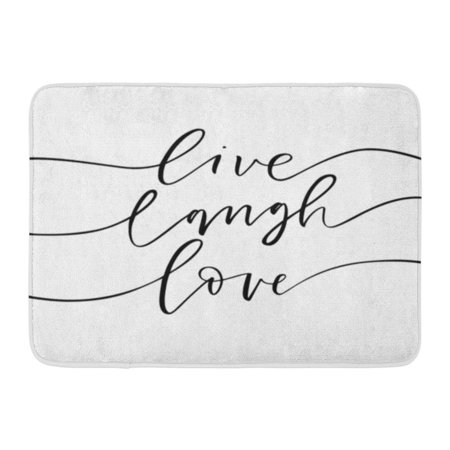 Welcome Phrases Mini - GODPOK Slogan Black Life Live Laugh Love Phrase Ink Modern Brush Calligraphy White Lettering Abstract Rug Doormat Bath Mat 23.6x15.7 inch