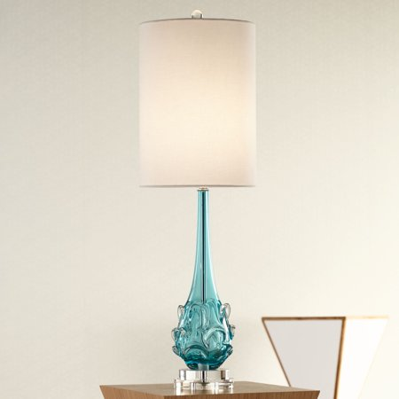 Possini Euro Design Coastal Table Lamp Clear Teal Blue Glass Swirl Off White Tall Drum Shade for Living Room Family Bedroom ()