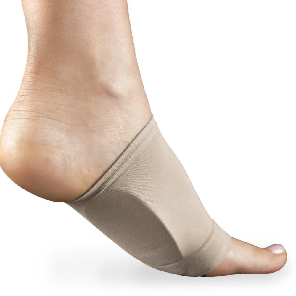 Graduated Arch Support Plantar Fasciitis Flat Feet Orthotics Sleeves With Cushion -Beige