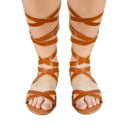 Sara Z Ladies Strappy Pu Gladiator Sandal 11 Cognac - Costume Gladiator Sandals