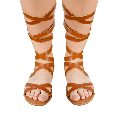 Sara Z Ladies Strappy Pu Gladiator Sandal 11 Cognac ()