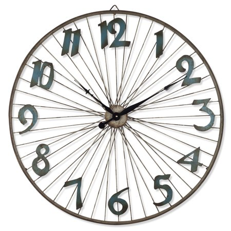 Battery-Operated Bicycle Wheel Wall Clock with Spoked Wheel Effects (Wheel Clock)