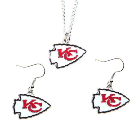 City Necklaces (Aminco Kansas City Chiefs Necklace and Dangle Earings Charm)