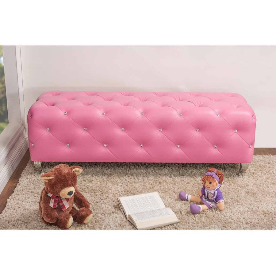 stella crystal tufted pink leather modern bench  walmartcom -