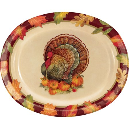 Turkey Traditions Thanksgiving Oval Plates, 8 pack - Thanksgiving Plates