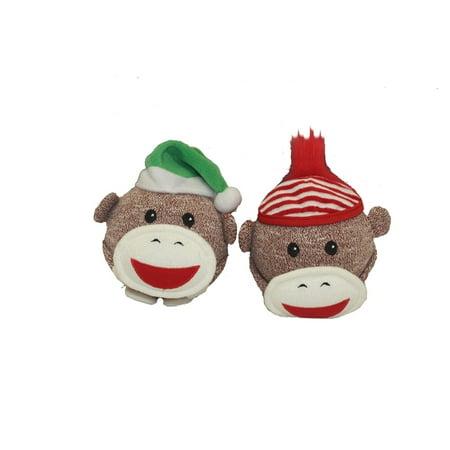 Christmas Sock Monkey Squeaky - Christmas Sock Monkey