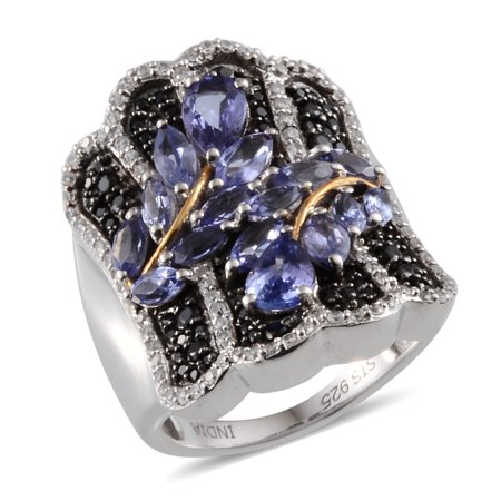 925 Sterling Silver Platinum Plated Pear Tanzanite Black Spinel Anniversary Ring for Women Cttw 4.3