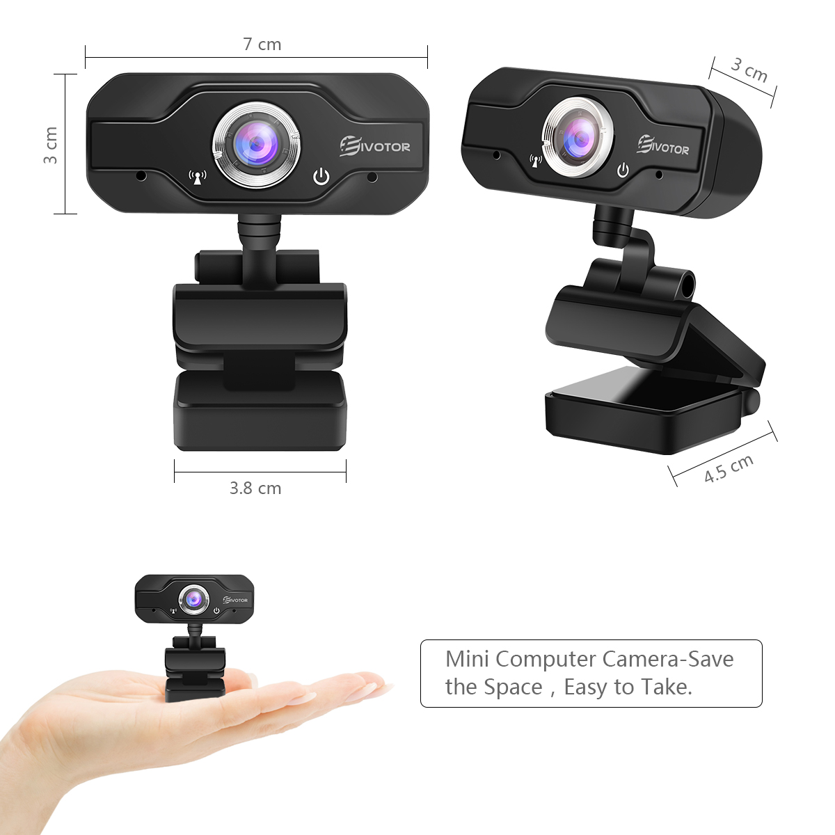 HD Laptop Webcam EIVOTOR USB Mini Webcam Camera with Built-in Microphone for Desktop Laptop 360-Degree Swivel 720P Camera