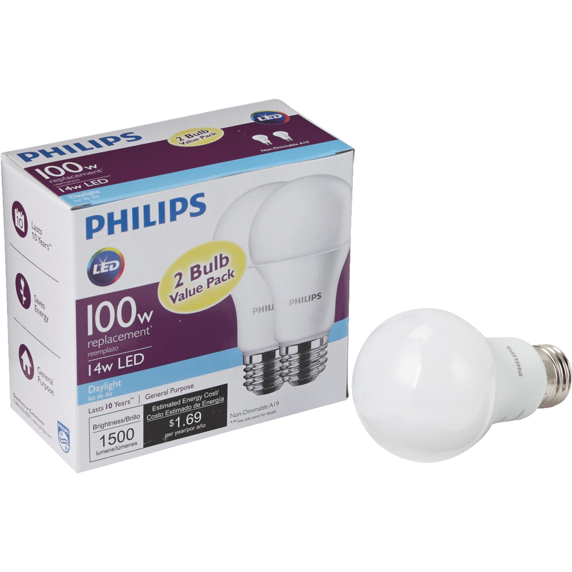 Philips LED 14W (100 Watt Equivalent) Daylight Standard A19 Light Bulb, 2 CT
