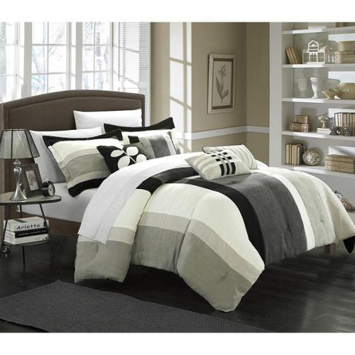 Chic Home Valley 7-piece Plush Microsuede Striped Comforter Set Queen-Black
