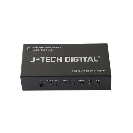 j-tech digital 4k 3x1 hdmi switch 3 ports hdmi switcher ultra hd 4k x 2k three inputs and one