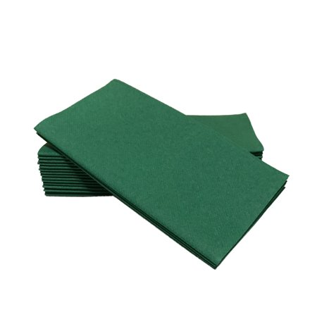 "SimuLinen Dinner Napkins – Disposable, DARK GREEN, Cloth-Like – Elegant, yet Heavy Duty Soft, Absorbent & Durable – 16""x16"" – Box of 50 - Plum Napkins"
