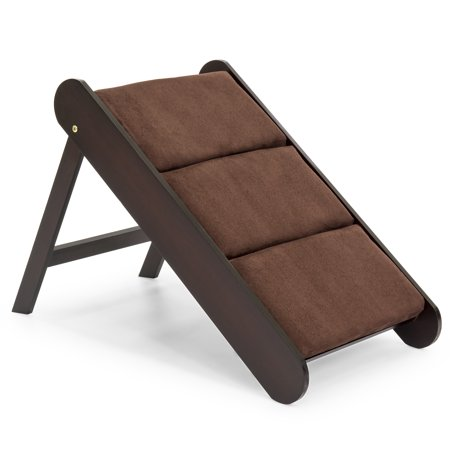 Best Choice Products 19in Portable Folding Wood Pet Ramp Accessory for Small Pets, Cats, Dogs w/ Padded Cushion - Brown