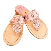 Palm Beach  Handcrafted Classic Leather Sandals -  Blush/Rose Gold, Size 6