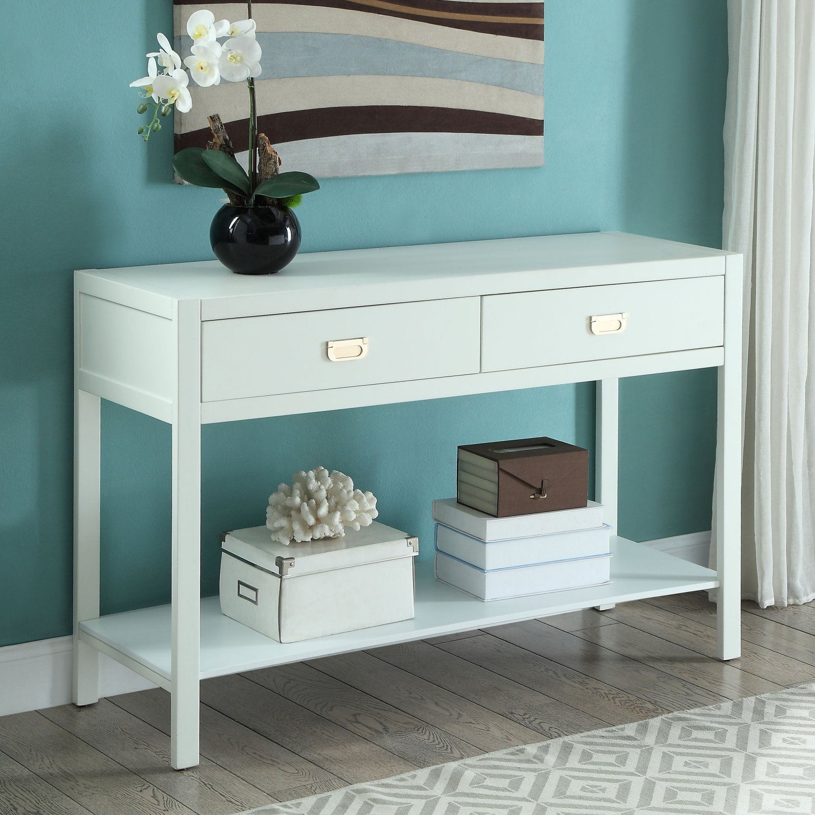 Linon Peggy Console Table, White, 2 Drawers And 1 Shelf