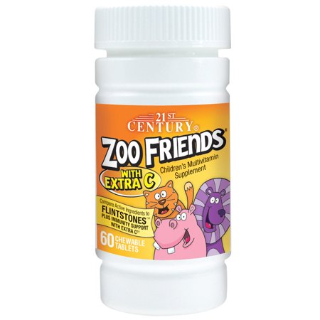 21st Century, Zoo Friends with Extra C, 60 Chewable Tablets(pack of 6)