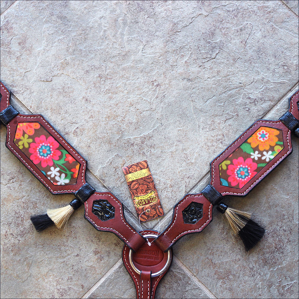 HILASON WESTERN AMERICAN LEATHER HORSE BREAST COLLAR MAHOGANY FLORAL INLAY