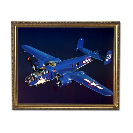 Gold Airplane (B-25 Mitchell Military Aircraft Jet Airplane Wall Picture Gold Framed Art Print)
