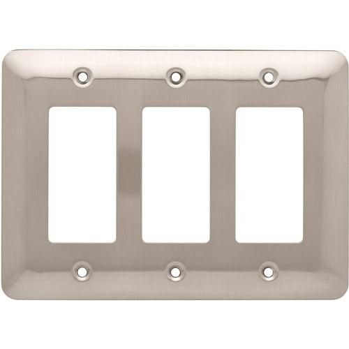 Brainerd 126442 Stamped Round Triple Decorator Wall Plate - Satin Nickel - 1 Pack