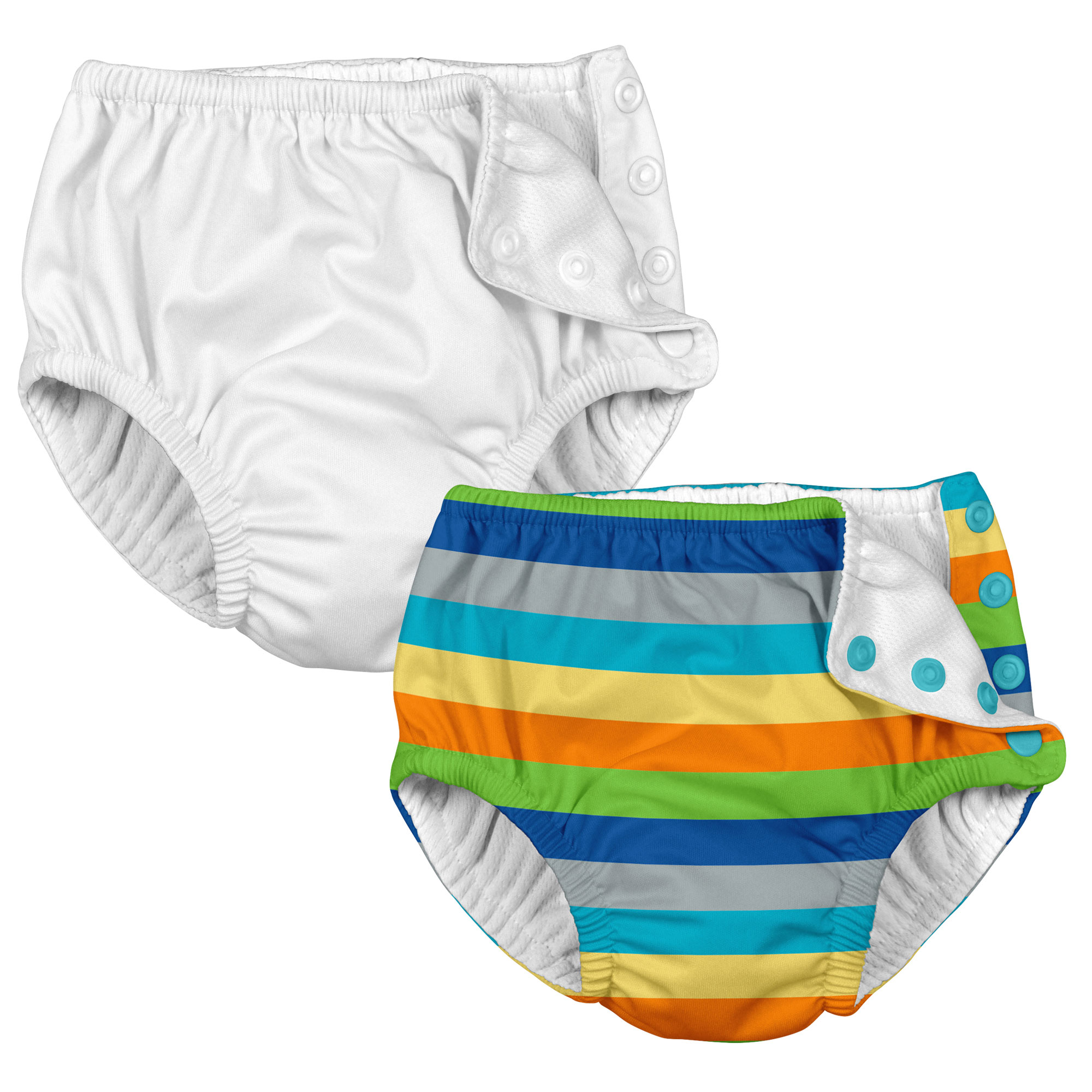 i play Baby and Toddler Snap Reusable Swim Diaper - White and Stripes- 2 Pack
