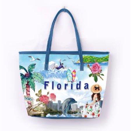 OH Fashion Women Handbag Tote Summer Florida PU Leather Barrel Handbag Shoulder Bag Tote Purse Cities Design Travel Bag Adventure Awaits Collection
