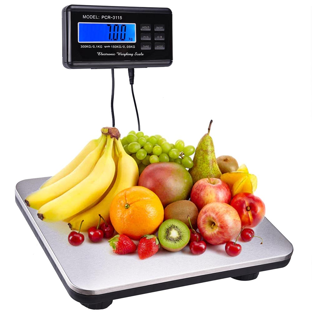 COKO 660lbs LCD Digital Floor Bench Postal Scale Platform Shipping & pet 300kg Weigh by