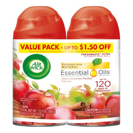 - Air Wick Freshmatic 2 Refills Automatic Spray, Apple Cinnamon Medley, (2X6.17oz), Air Freshener